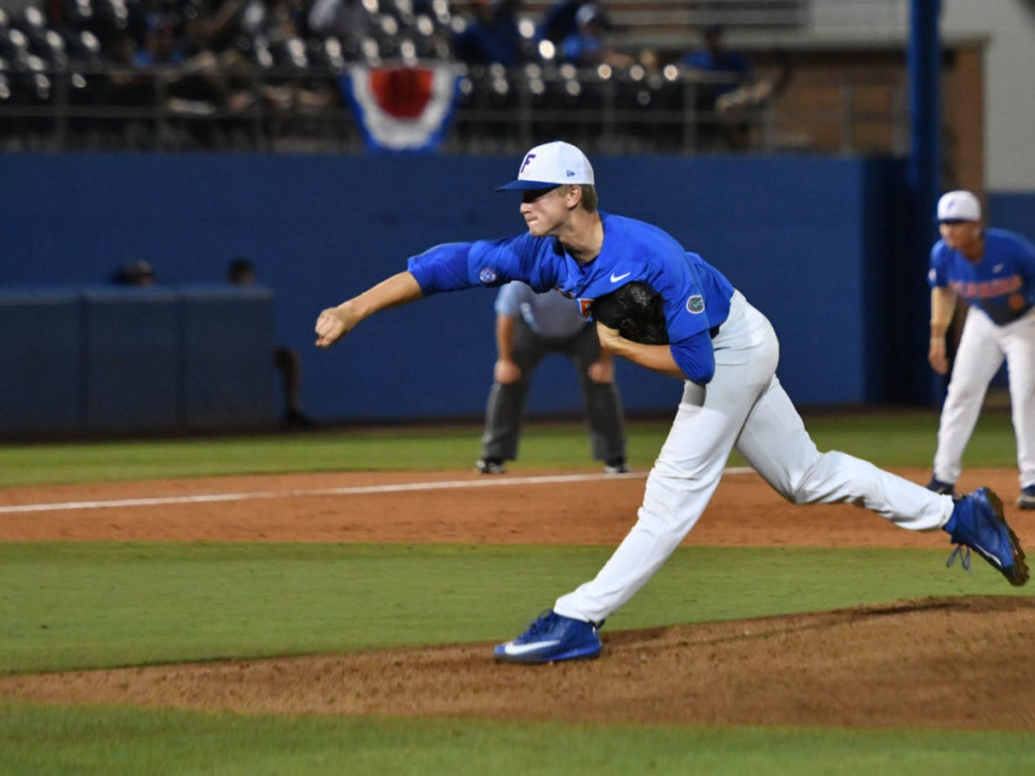 Pitcher Brady Singer allowed one run on two hits through seven innings Friday night against No. 8 Vanderbilt.