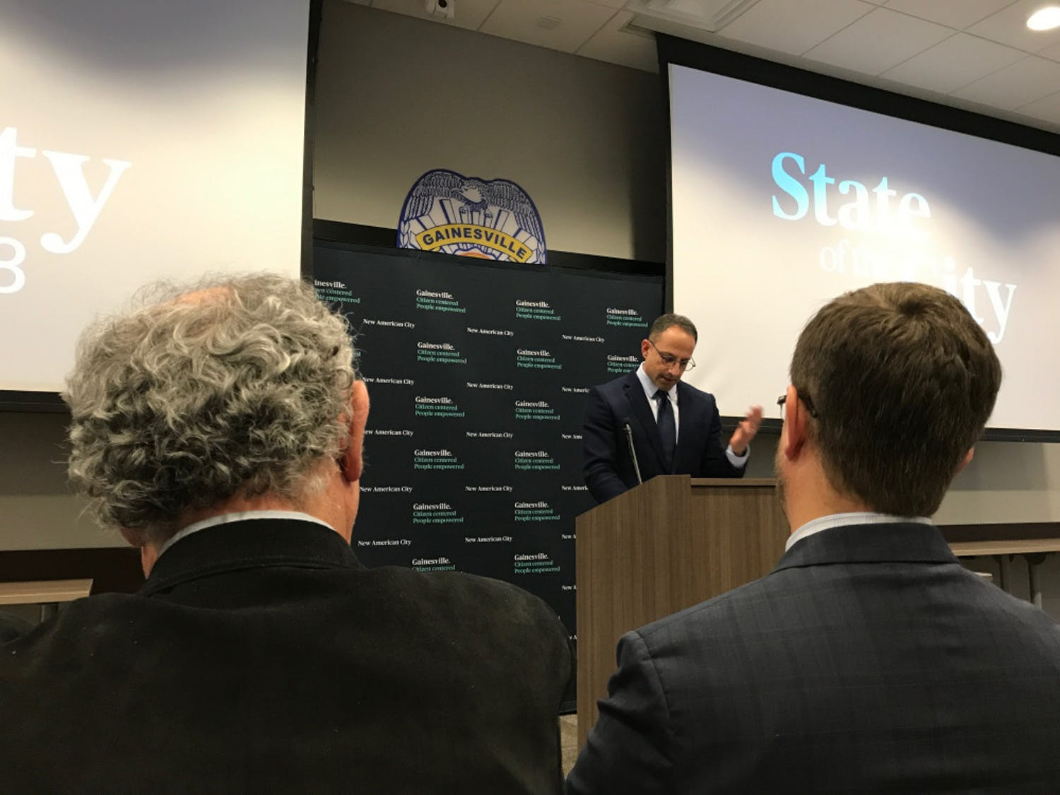 Gainesville City Manager Anthony Lyons speaks during the 2018State of the City Address on Wednesday at the Gainesville Police Department.
