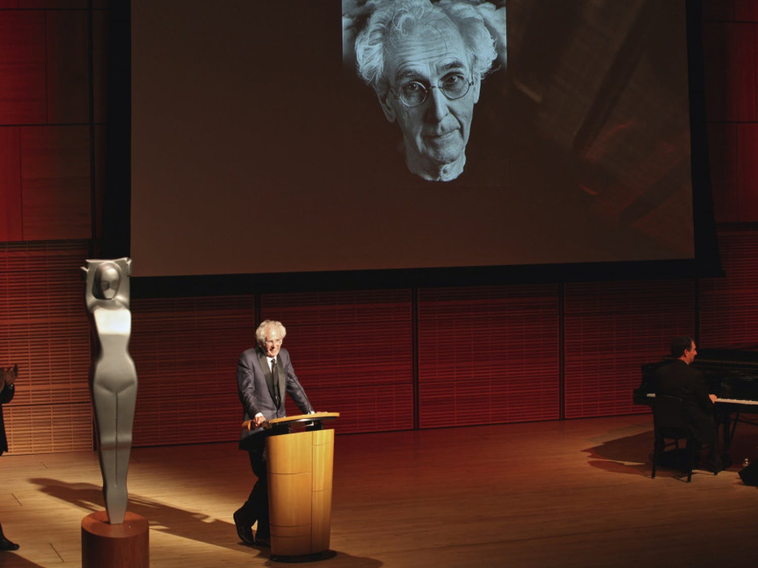 Professor emeritus Jerry N. Uelsmann accepts the Lucie Award at Carnegie Hall in New York City.