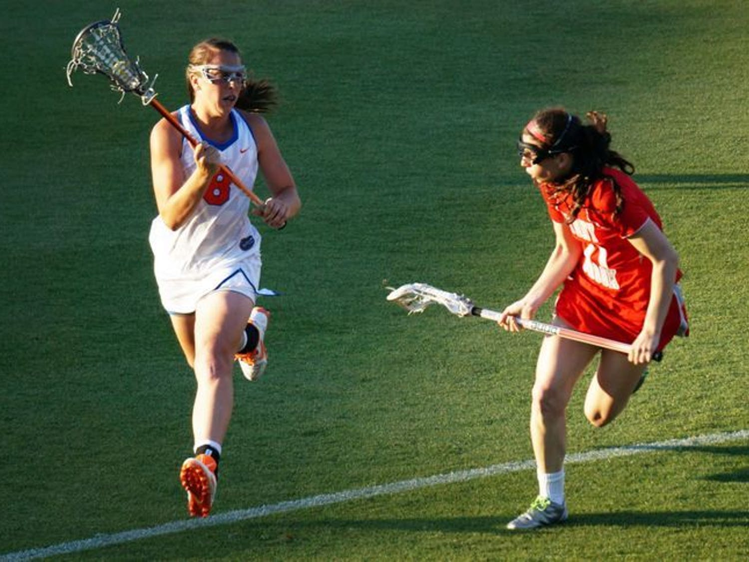 Shannon Gilroy runs toward the net during Florida's 12-11 loss to Stony Brook on March 17 at Donald R. Dizney Stadium. Gilroy scored two goals in Sunday's 11-6 loss to UNC.