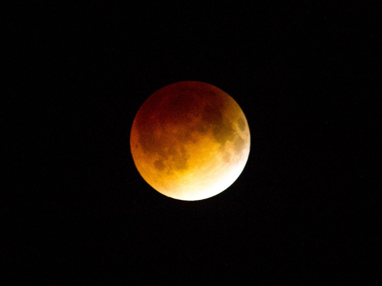 The blood moon, caused by a total lunar eclipse, was visible at about 3 a.m. today for the first time since 2010.