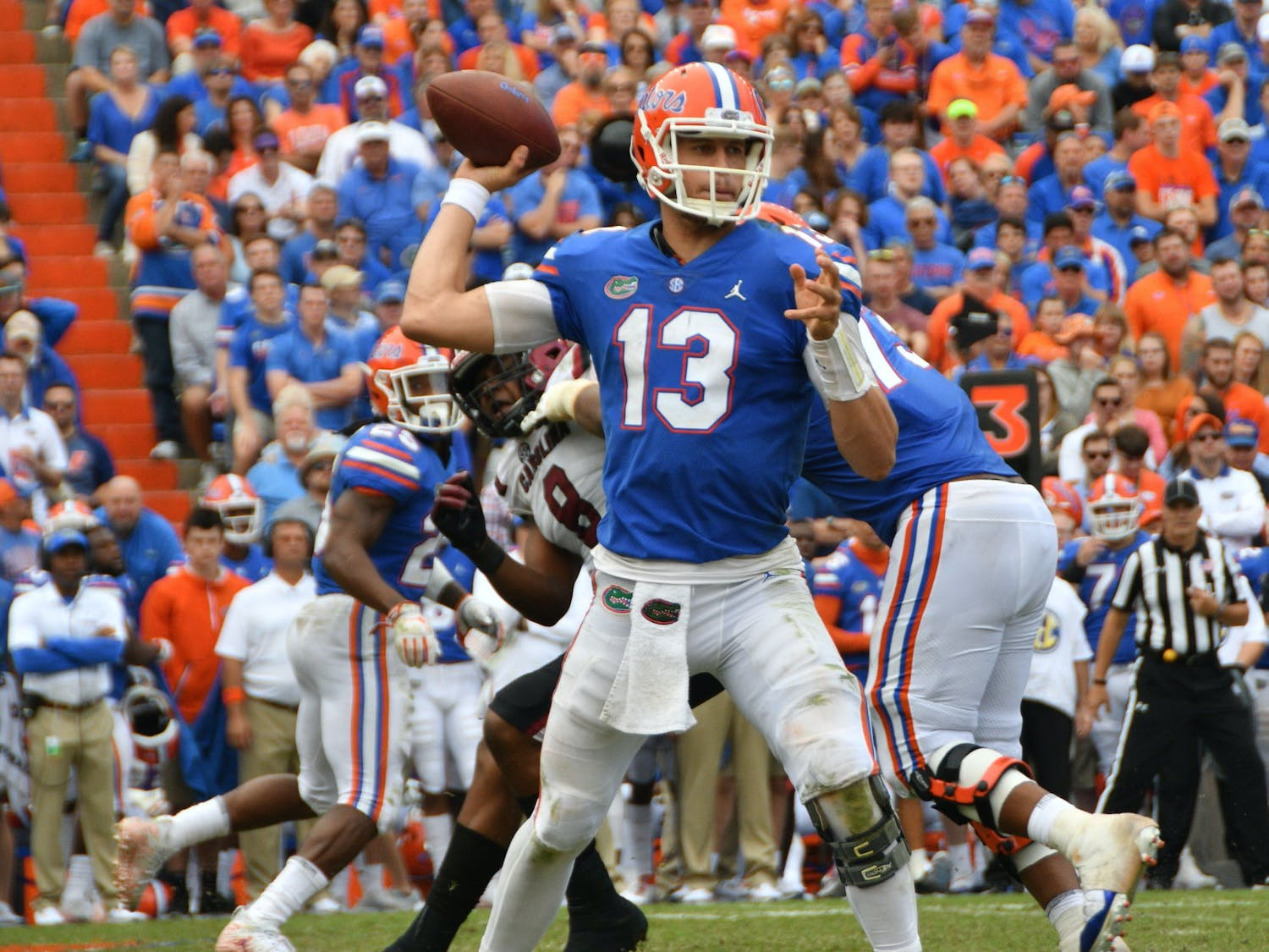 """UF quarterback Feleipe Franks seemed to run with purpose and physicality on Saturday against South Carolina. """"I just wanted to run somebody over,"""" he said."""
