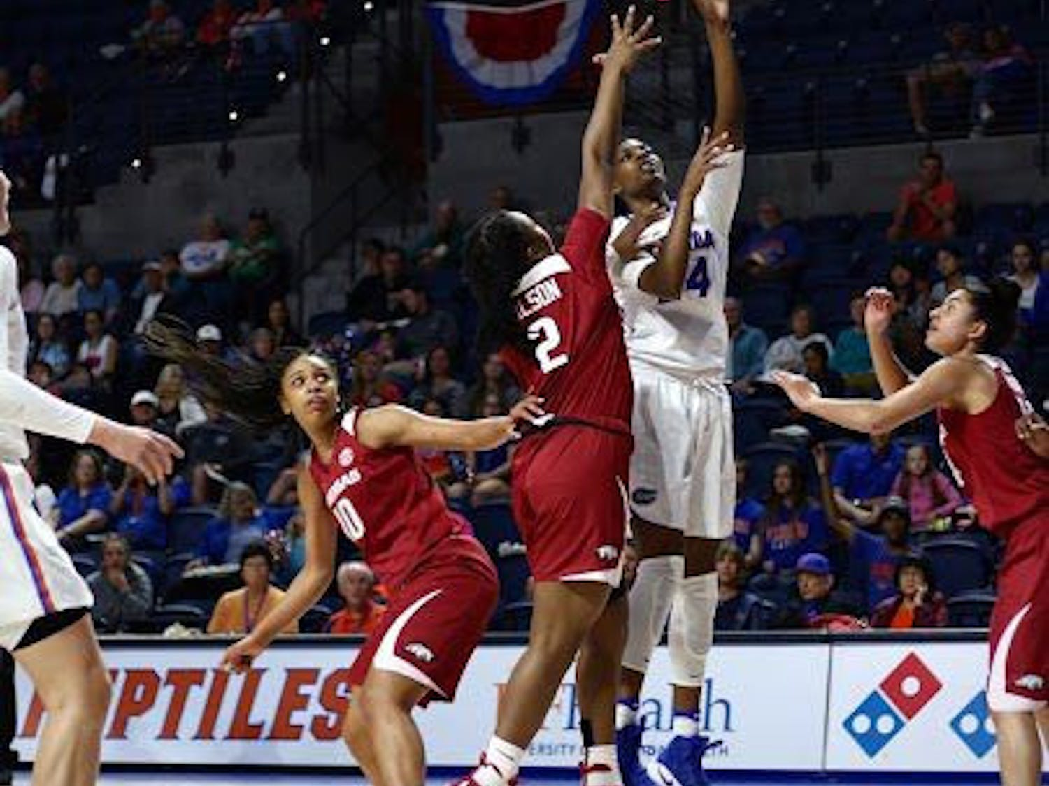 UF center Tyshara Fleming attempts a lay-up during Florida's 57-53 win against Arkansas on Feb. 9, 2017, in the O'Connell Center.