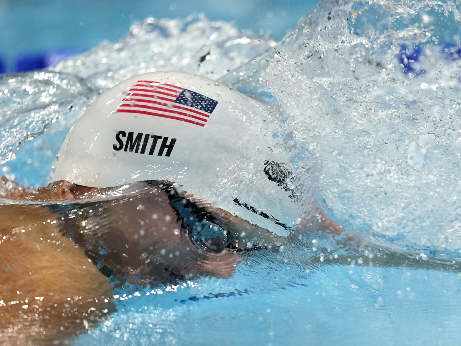 Kieran Smith, of the United States, swims in the fifth heat of the men's 400-meter freestyle at the 2020 Summer Olympics, Saturday, July 24, 2021, in Tokyo, Japan. (AP Photo/Martin Meissner)
