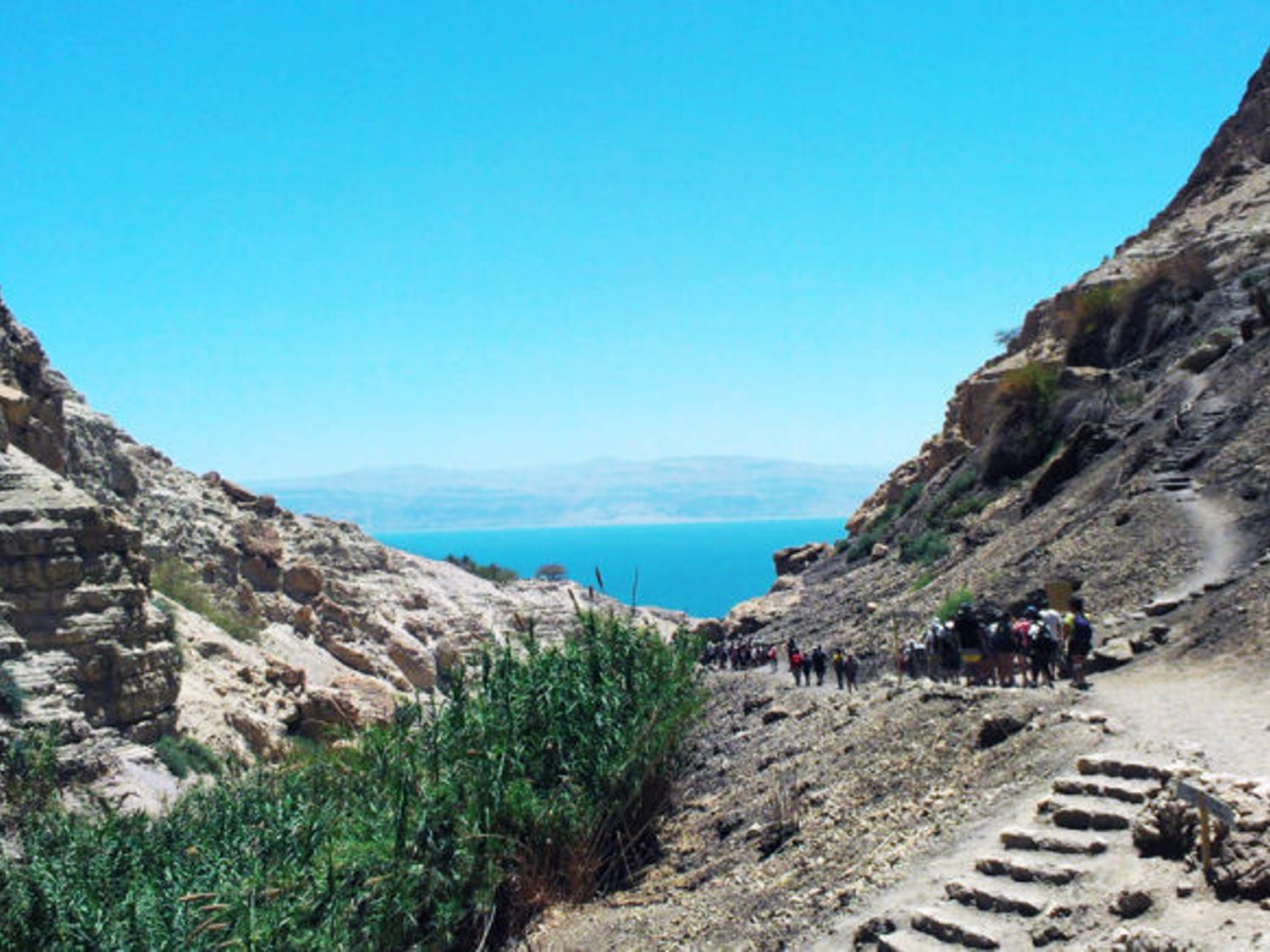 A group of UF students hikes in the Ein Gedi Nature Reserve, located near Israel's Dead Sea, during a Birthright trip in May. UF Hillel takes Jewish students on the free, 10-day trip in the winter and summer.