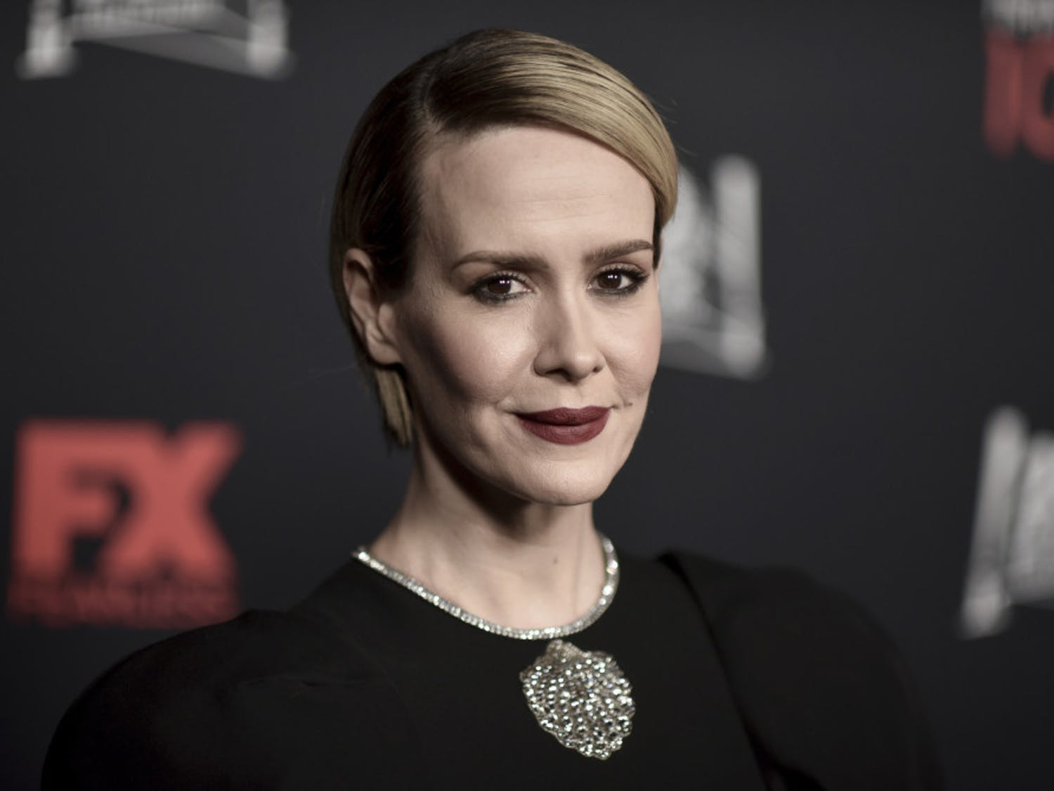 "Sarah Paulson attends the 100 Episodes of ""American Horror Story"" Celebration at Hollywood Forever Cemetery on Saturday, Oct. 26, 2019, in Los Angeles. (Photo by Richard Shotwell/Invision/AP)"