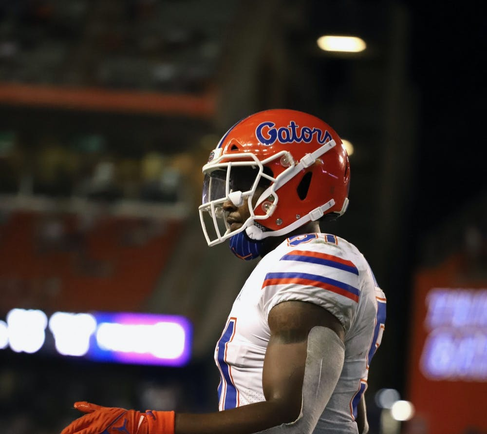 Florida's Ventrell Miller, pictured on the field against Florida Atlantic on Sept. 4, will miss the season after surgery for a torn biceps tendon.