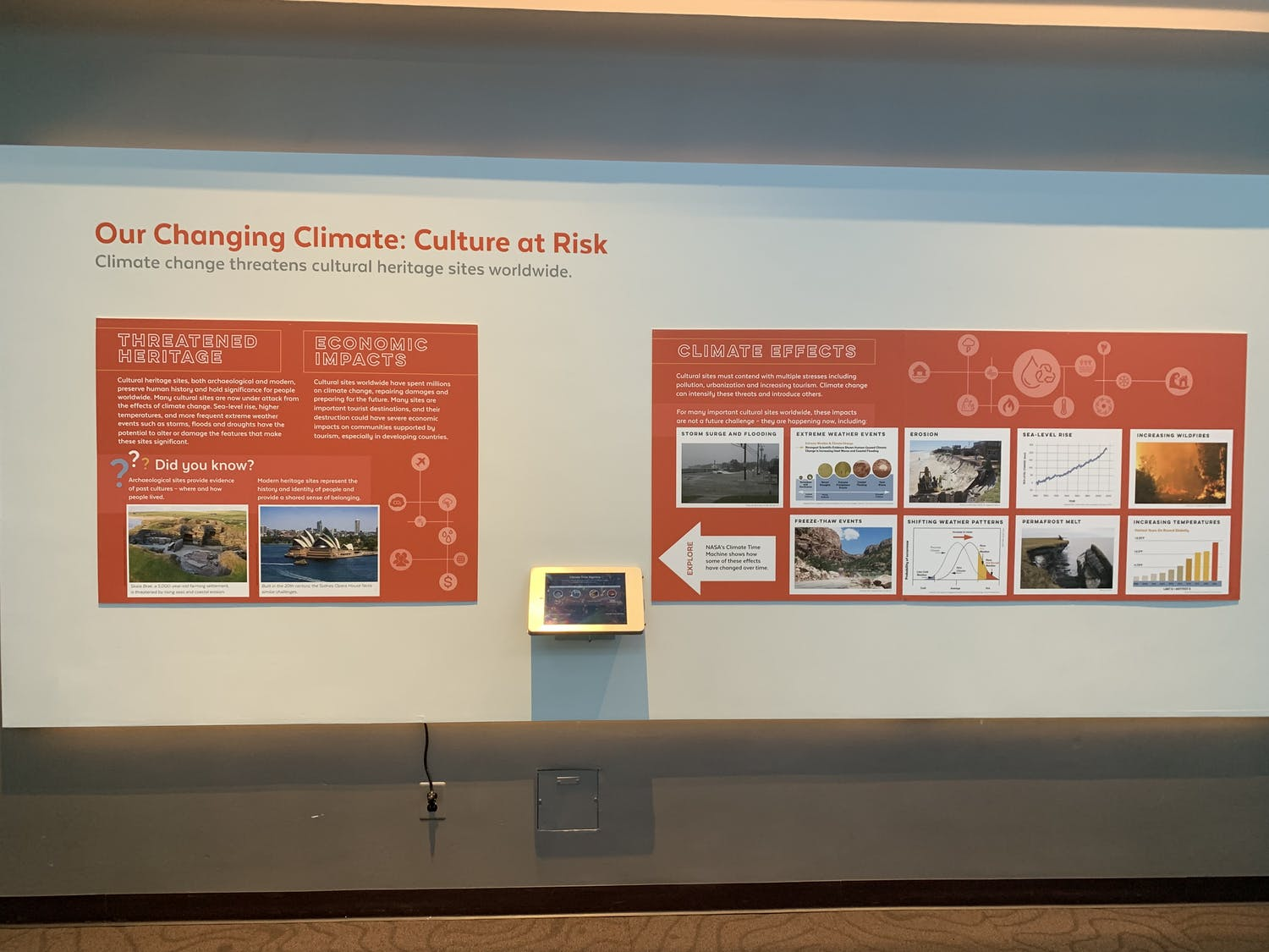 The exhibit explores how many cultural sites have spent millions of dollars attempting to repair the damage done by erosion.