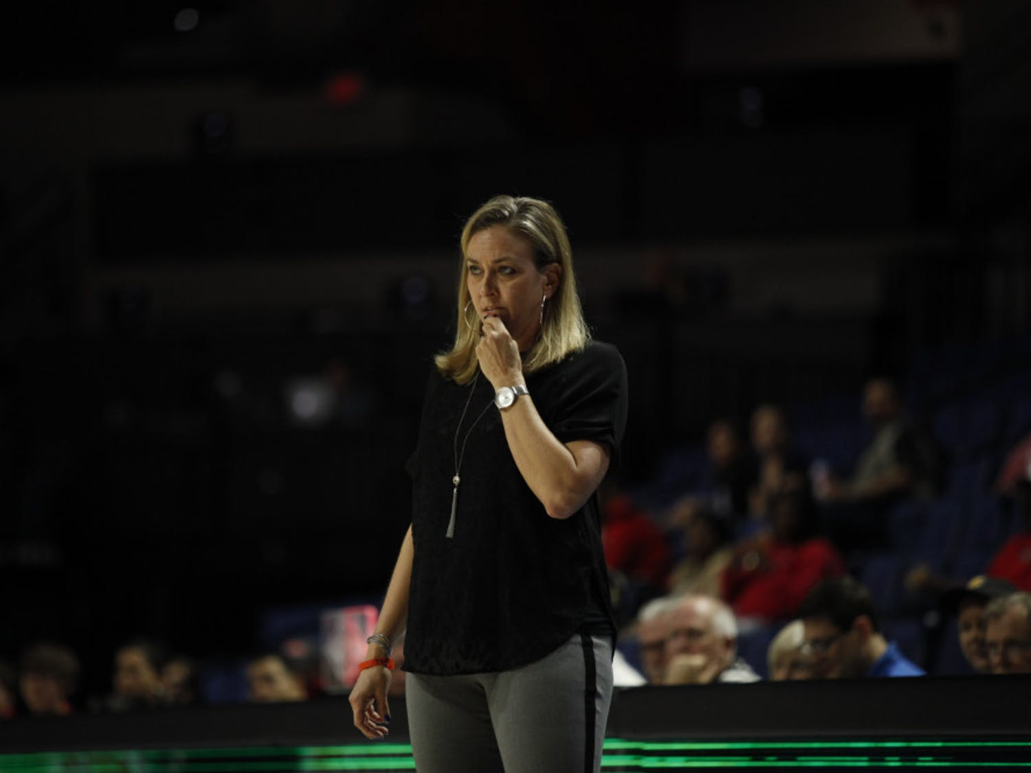 Former UF women's basketball coach Amanda Butler looks on during Florida's loss to Ole Miss on Feb. 6 in the O'Connell Center. Butler was fired on Monday.
