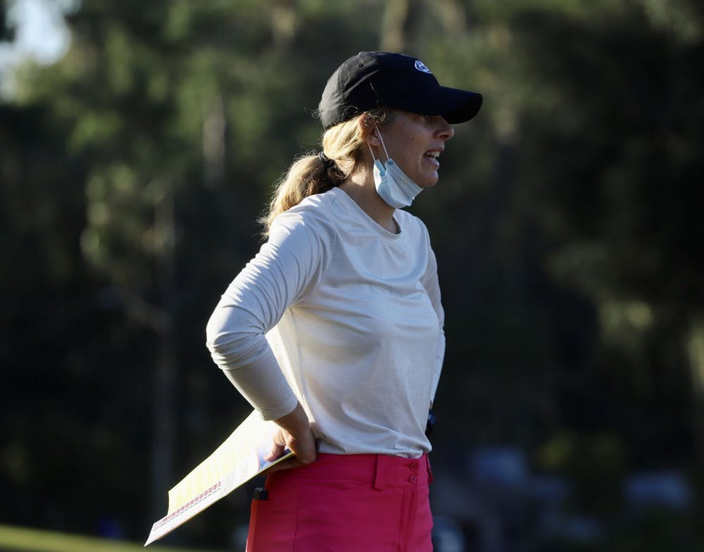 <p>Coach Emily Bastel Glasser at Mark Bostick Golf Course. She highlighted her team's mistakes but commended Fuller's performance</p>