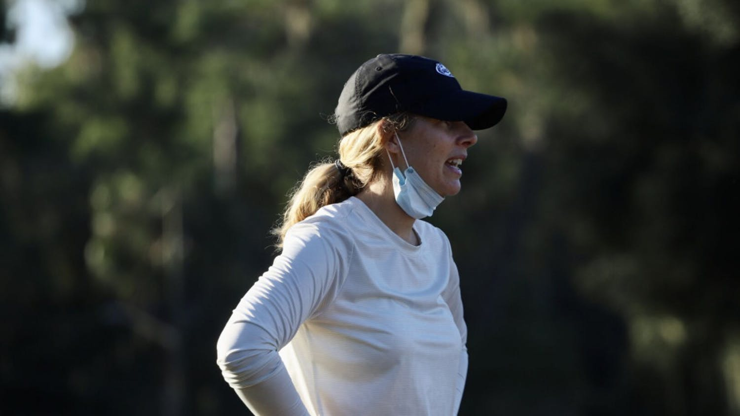 Coach Emily Bastel Glasser at Mark Bostick Golf Course. She highlighted her team's mistakes but commended Fuller's performance