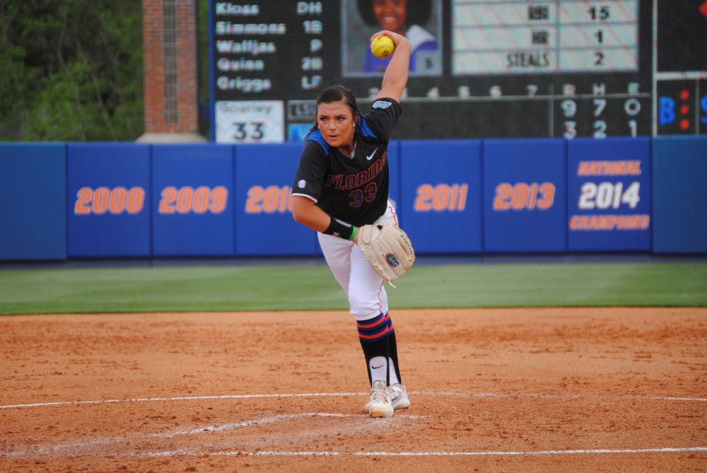 <p>Delanie Gourley pitches during Florida's 14-10 loss to LSU on March 14, 2015, at Katie Seashole Pressly Stadium.</p>