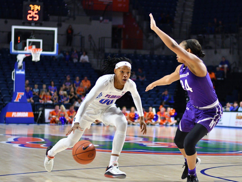 Florida guard Delicia Washington leads the Gators with 39 rebounds on the season.