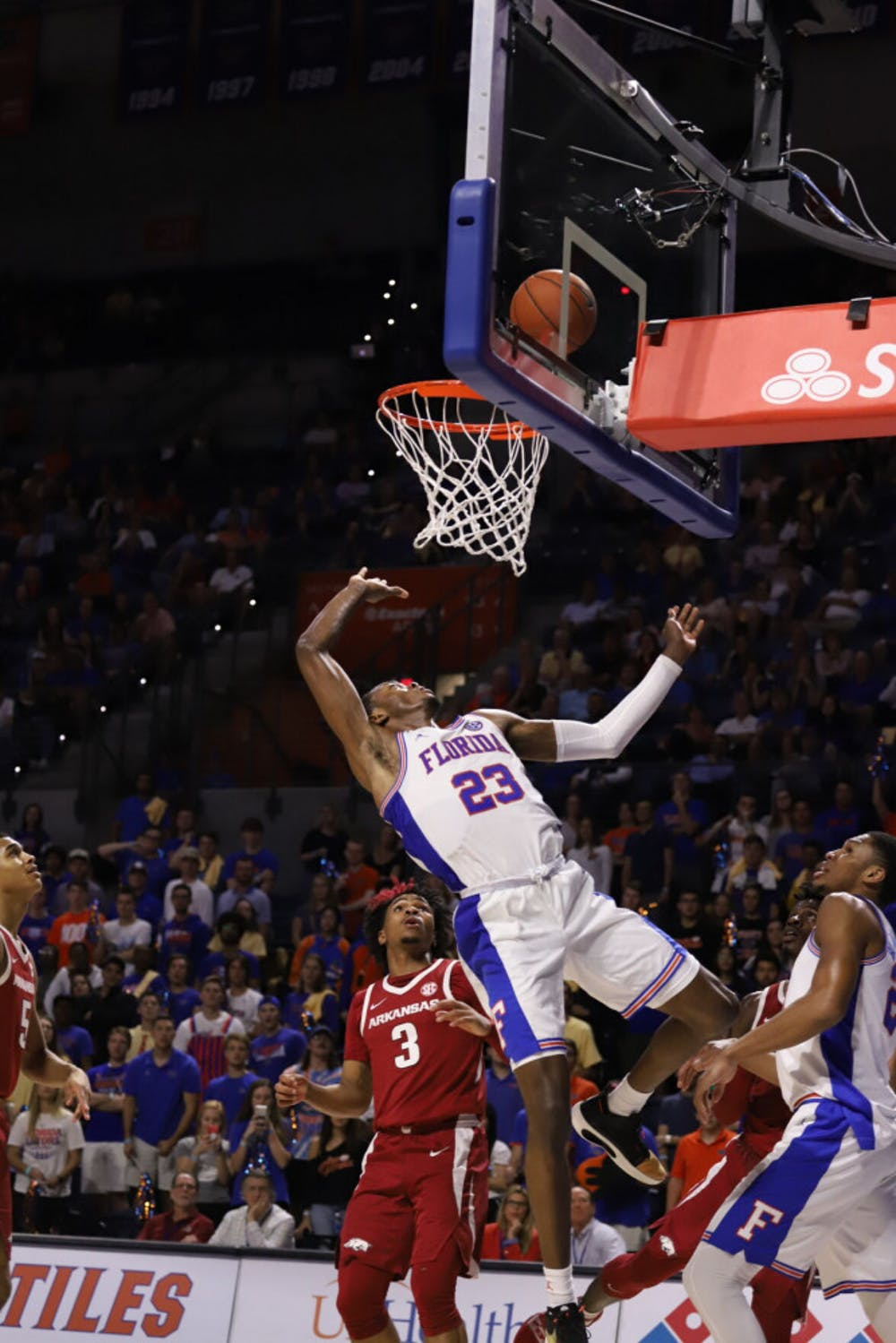 <p>Sophomore guard Scottie Lewis at last year&#x27;s game against Arkansas. Lewis scored 16 points and dished out five assists in a winning effort Wednesday.</p>