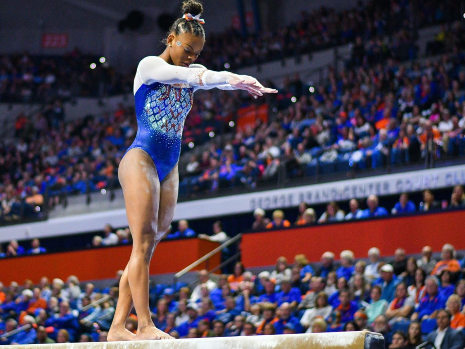 Freshman Trinity Thomas scored a 9.975 in her bars routine for the second straight meet and a 9.925 on the balance beam in the No. 2 Gators loss to No. 1 Oklahoma on Friday.