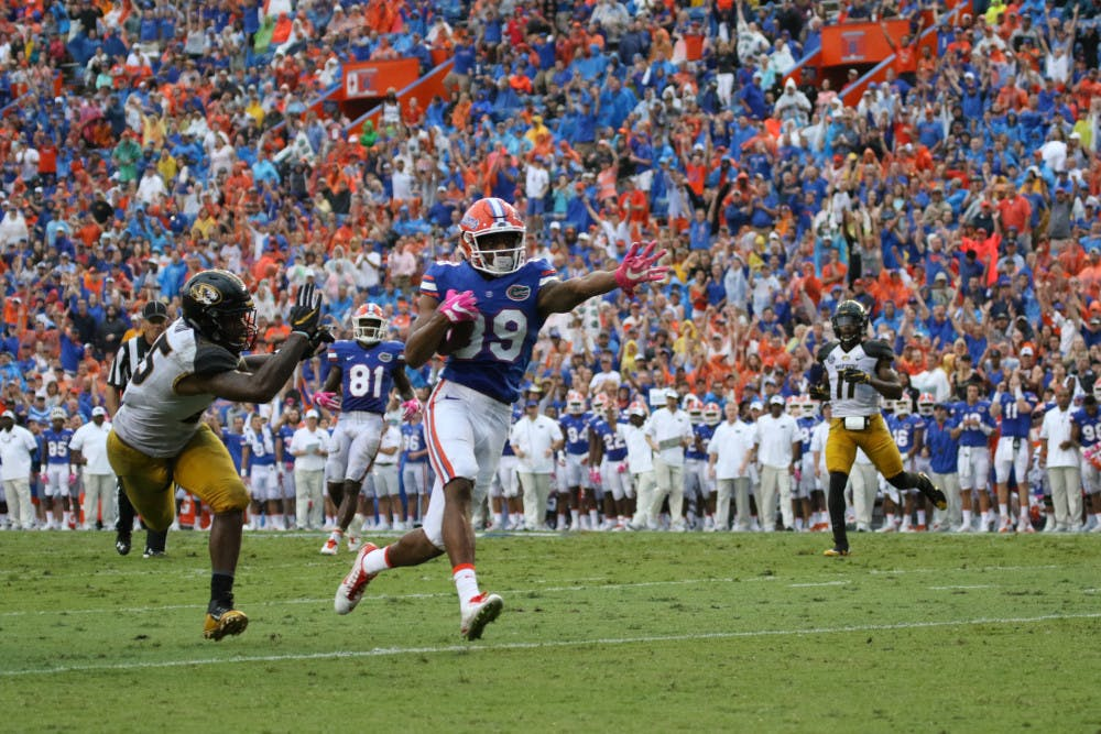 <p>Tyrie Cleveland (89) runs toward the end zone during Florida's 40-14 win over Missouri on Oct. 15, 2016, at Ben Hill Griffin Stadium.</p>