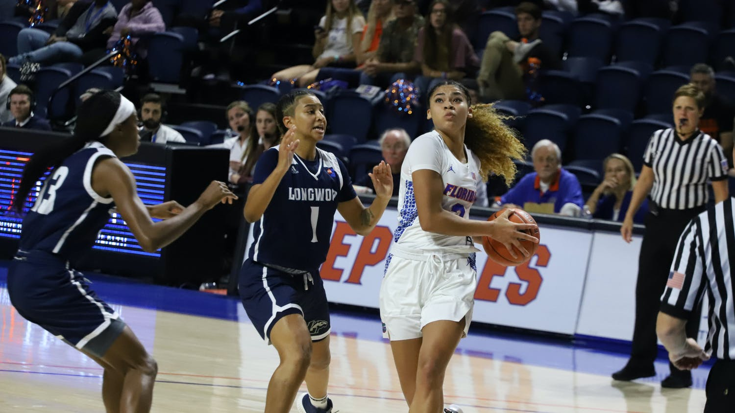 Lavender Briggs showed an early surge of energy she lacked Jan. 3 against Texas A&M. Photo from UF-Longwood game in November 2019.