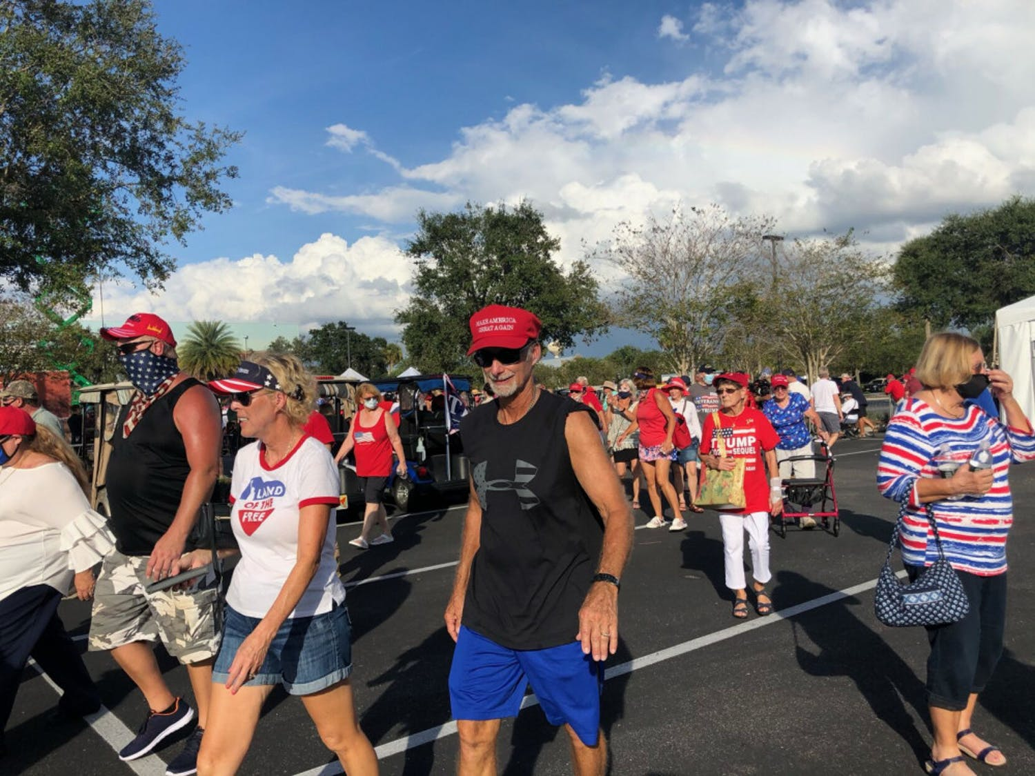 Hundreds of people gathered at The Villages,a massive retirement community west of Orlando, on Saturday to hear Vice President Mike Pence's campaign speech.