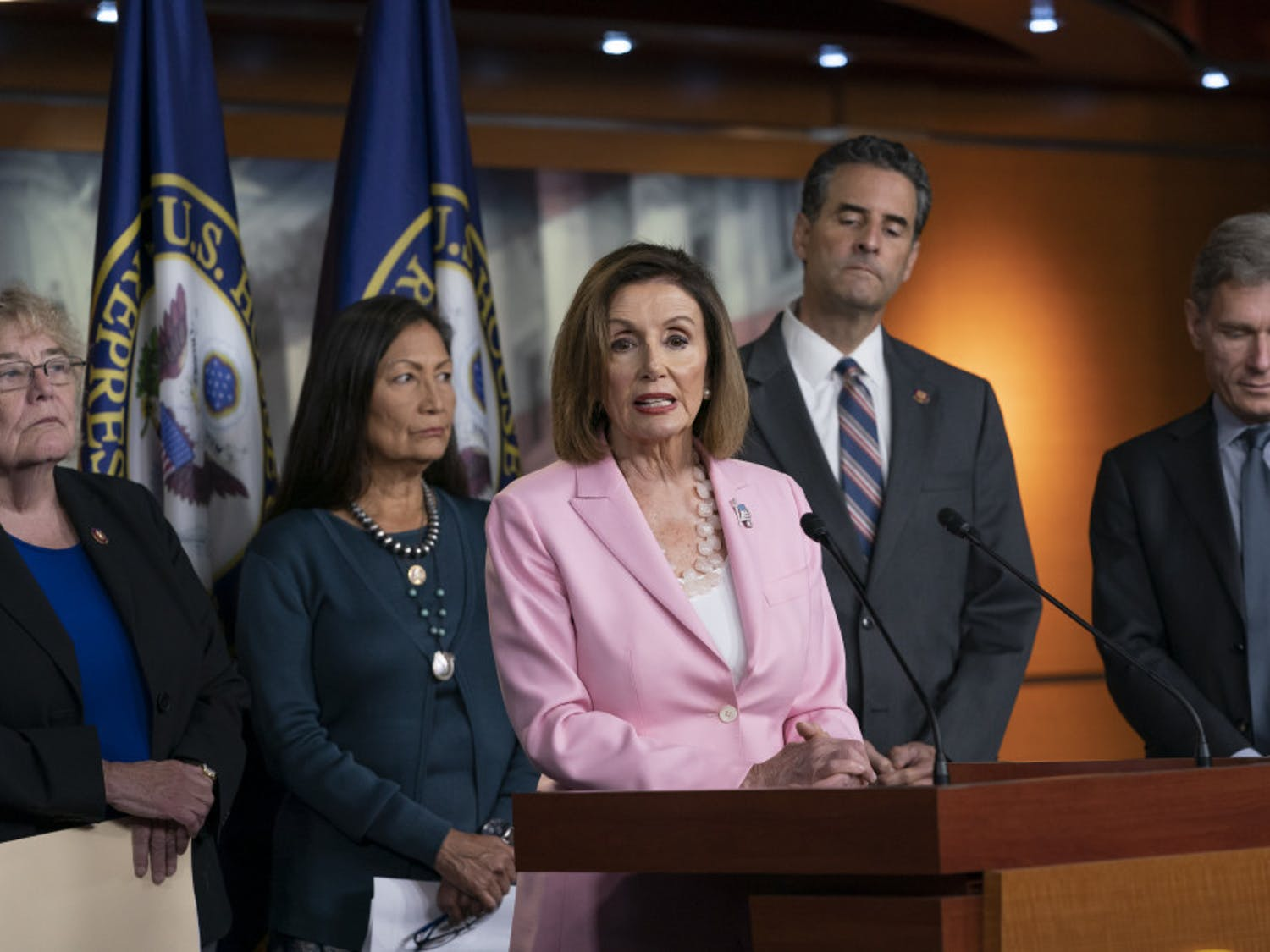 Speaker of the House Nancy Pelosi, D-Calif., leads other House Democrats to discuss H.R. 1, The For the People Act, which passed in the House but is being held up in the Senate, at the Capitol in Washington, Friday, Sept. 27, 2019. From left are, Rep. Zoe Lofgren, D-Calif., a member of the House Judiciary Committee, Rep. Deb Haaland, D-N.M., Rep. John Sarbanes, D-Md., and Rep. Tom Malinowski, D-N.J. (AP Photo/J. Scott Applewhite)