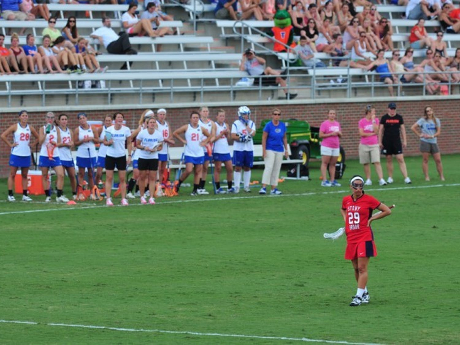 Former Florida midfielder Janine Hillier, who transferred to Stony Brook in the offseason, stands by herself during the Gators' 17-4 win over the Seawolves on Wednesday. Hillier was held scoreless.