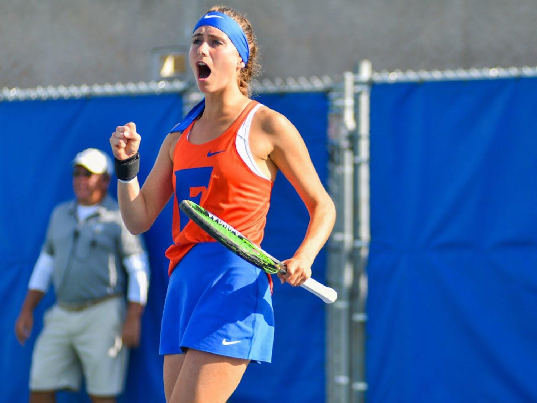 Senior Ida Jarlskog (pictured) and freshman Sara Dahlstrom came narrowly close to upsetting FSU top-50 doubles pair.