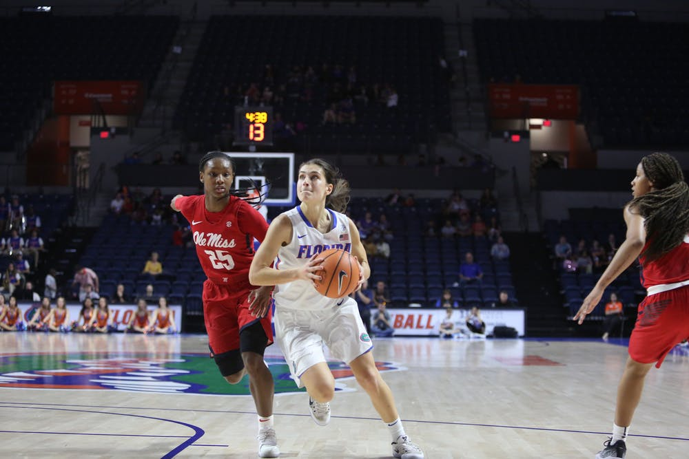 """<p dir=""""ltr""""><span>Florida guards Funda Nakkasoglu (pictured) and Delicia Washington combined for 56 points in UF's 92-82 loss against Mercer.</span></p><p><span></span></p>"""