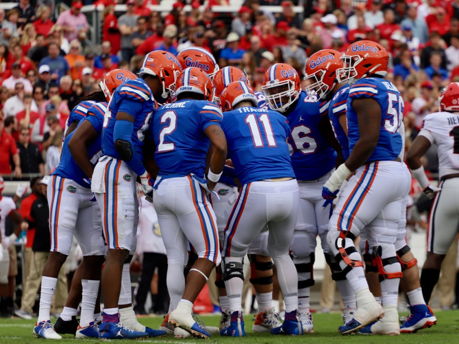 Gators in the huddle