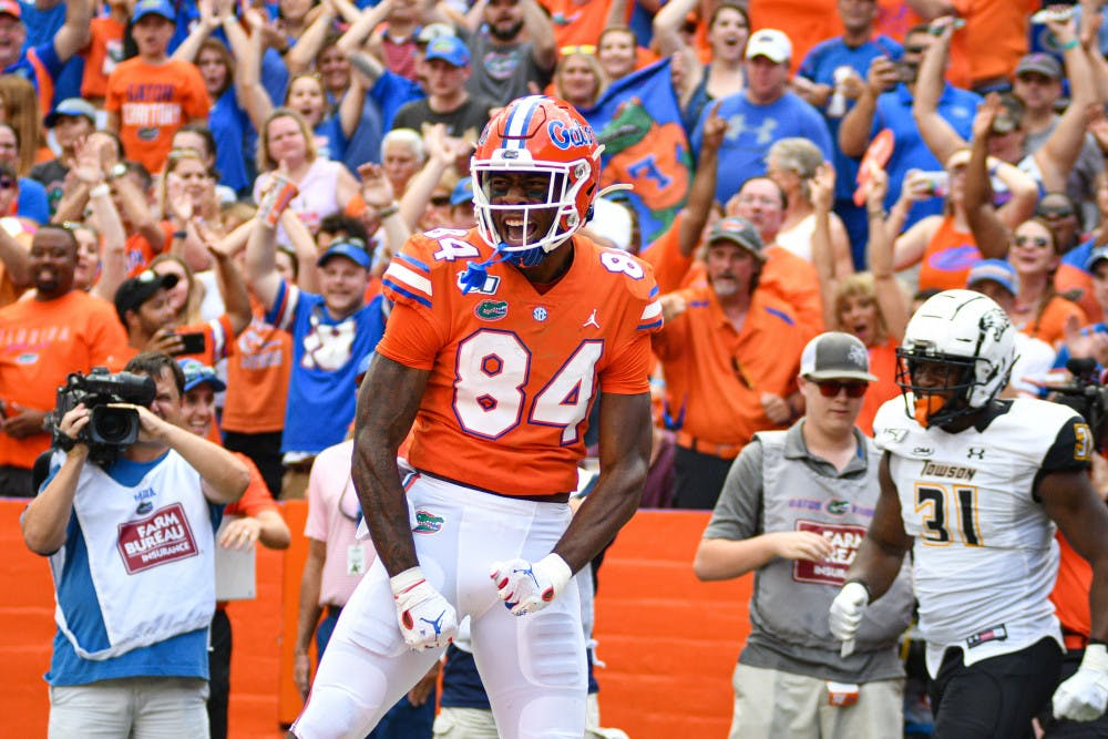 <p>Tight end Kyle Pitts caught two touchdowns as UF defeated Towson 38-0.</p>