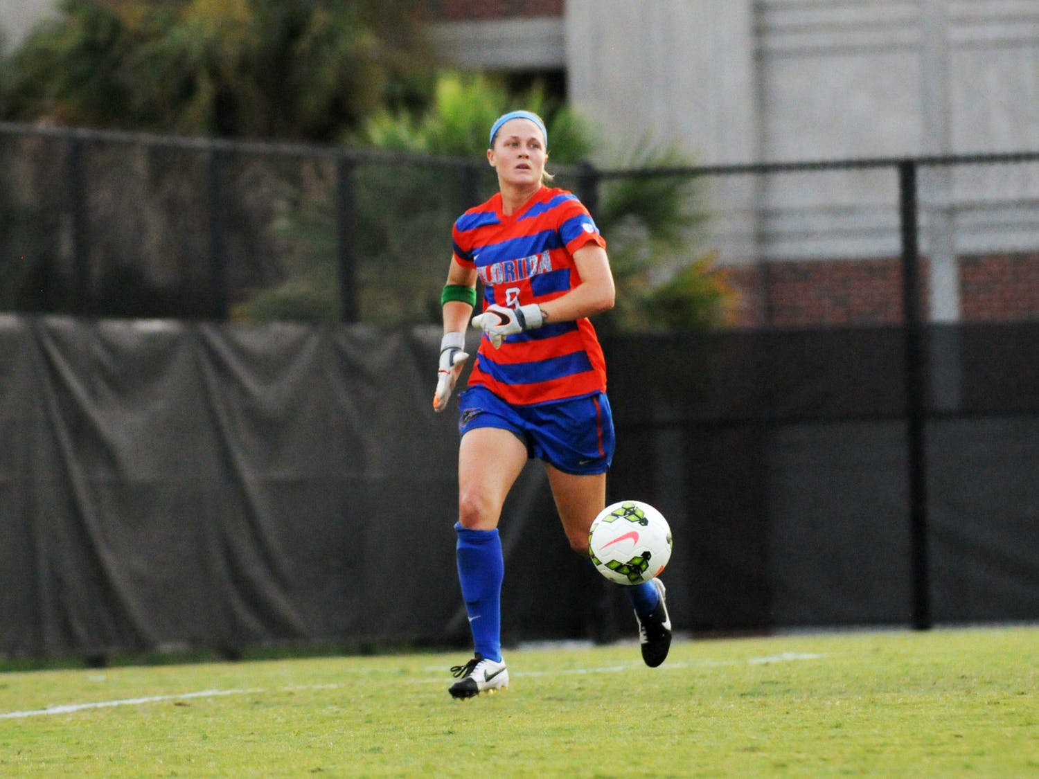 Goalkeeper Val Tysinger chases the ball during Florida's 2-1 win against Troy in an exhibition match on Aug. 11, 2015, at the soccer practice field at Donald R. Dizney Stadium.