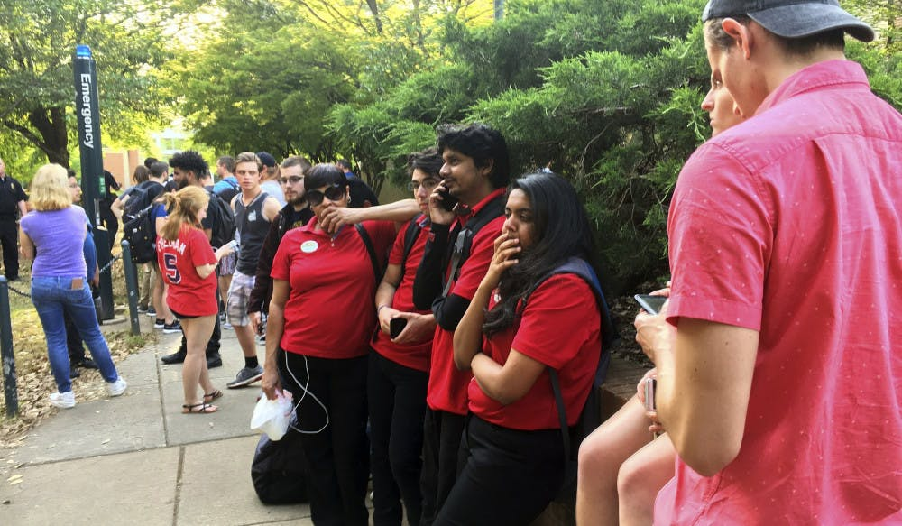 <p><span>Students gather on the campus of the University of North Carolina Charlotte after a shooting Tuesday afternoon, April 30, 2019, in Charlotte, N.C.</span></p>