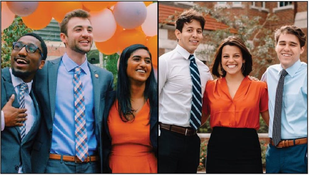 <p>Left: Gator Party's executive candidates Trevor Pope, Lauredan Official and Jessica Jesurajan.</p> <p>Right: Inspire Party's executive candidates Matthew Diaz, Emily Hyden and Matthew Barocas.</p>