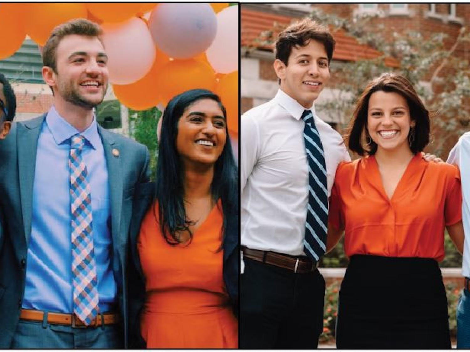 Left: Gator Party's executive candidates Trevor Pope, Lauredan Official and Jessica Jesurajan. Right: Inspire Party's executive candidates Matthew Diaz, Emily Hyden and Matthew Barocas.