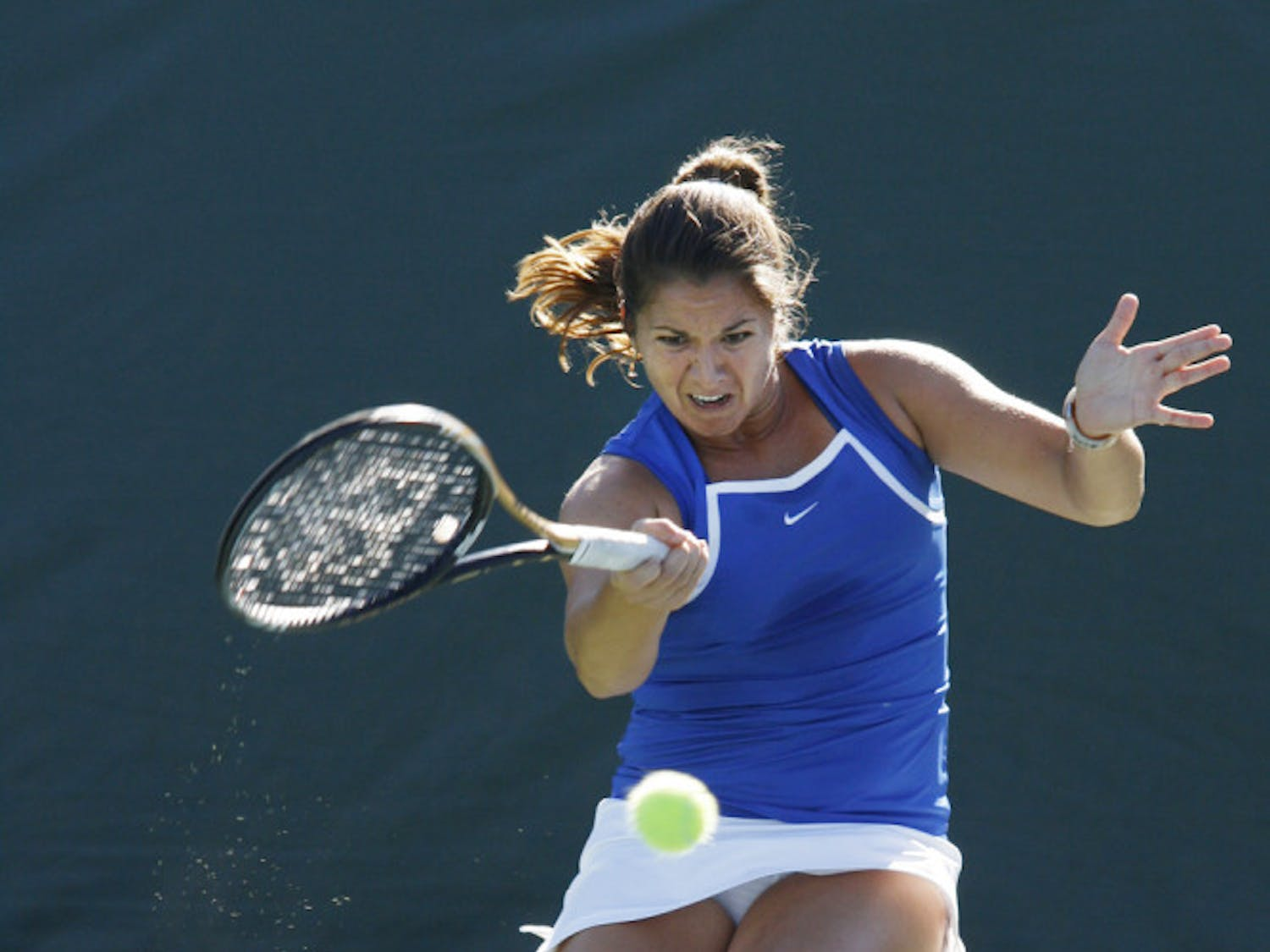 Junior Alexandra Cercone swings during Florida's 7-0 victory against Baylor on Feb. 2 at Linder Stadium.