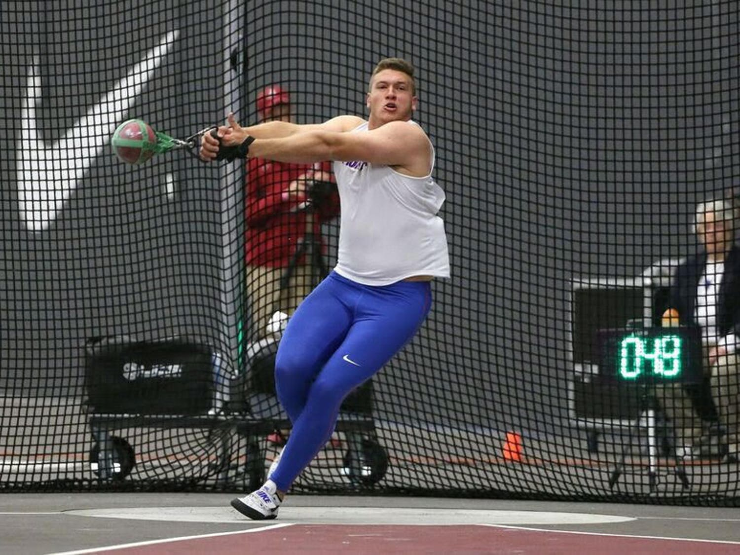 "UF thrower AJ McFarland knows the importance of every meet, regardless of when it occurs. ""I want to treat every meet like the postseason,"" he said."