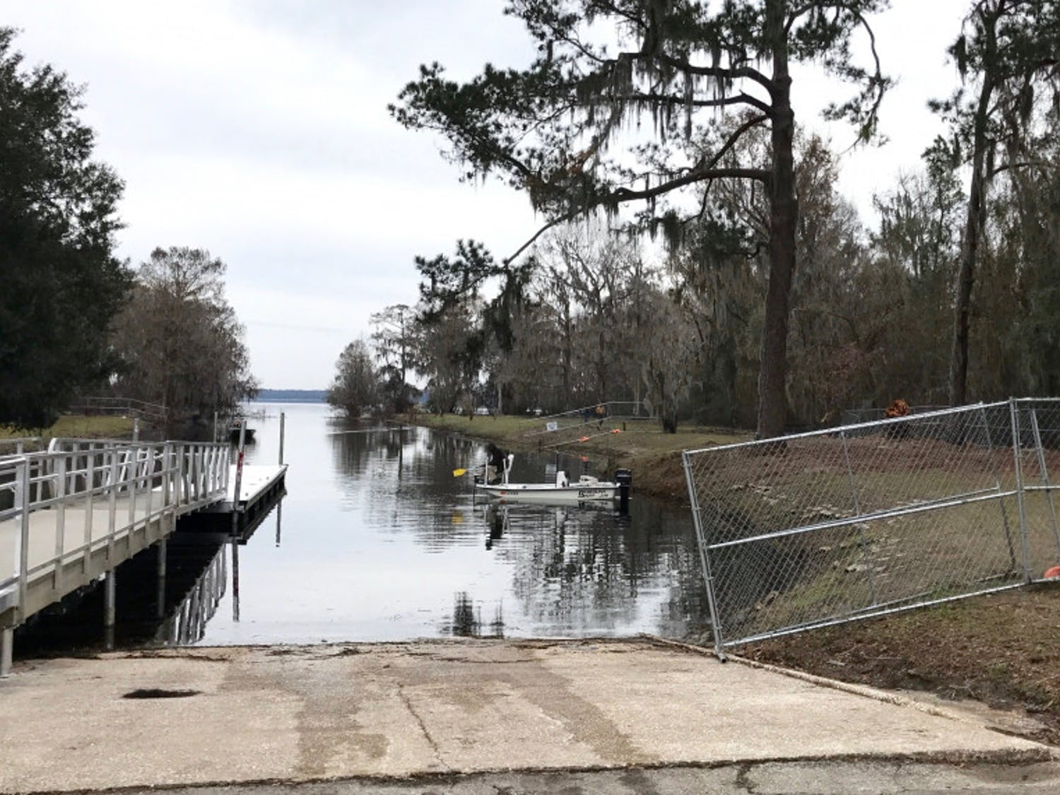 Earl P. Powers Park on Newnans Lake experienced severe flooding from Hurricane Irma, damaging the boat ramp and fishing pier.