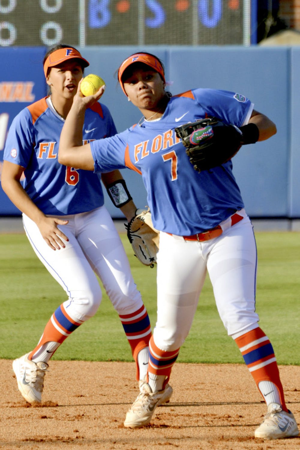 <p>Kelsey Stewart throws to first base during UF's 2-1 win against UNF on April 1, 2015, at Katie Seashole Pressly Stadium.</p>