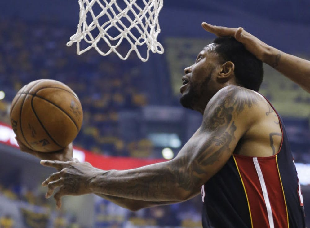 <p>Miami Heat forward Udonis Haslem shoots against the Indiana Pacers during the first half of Game 5 of the Eastern Conference finals.</p>