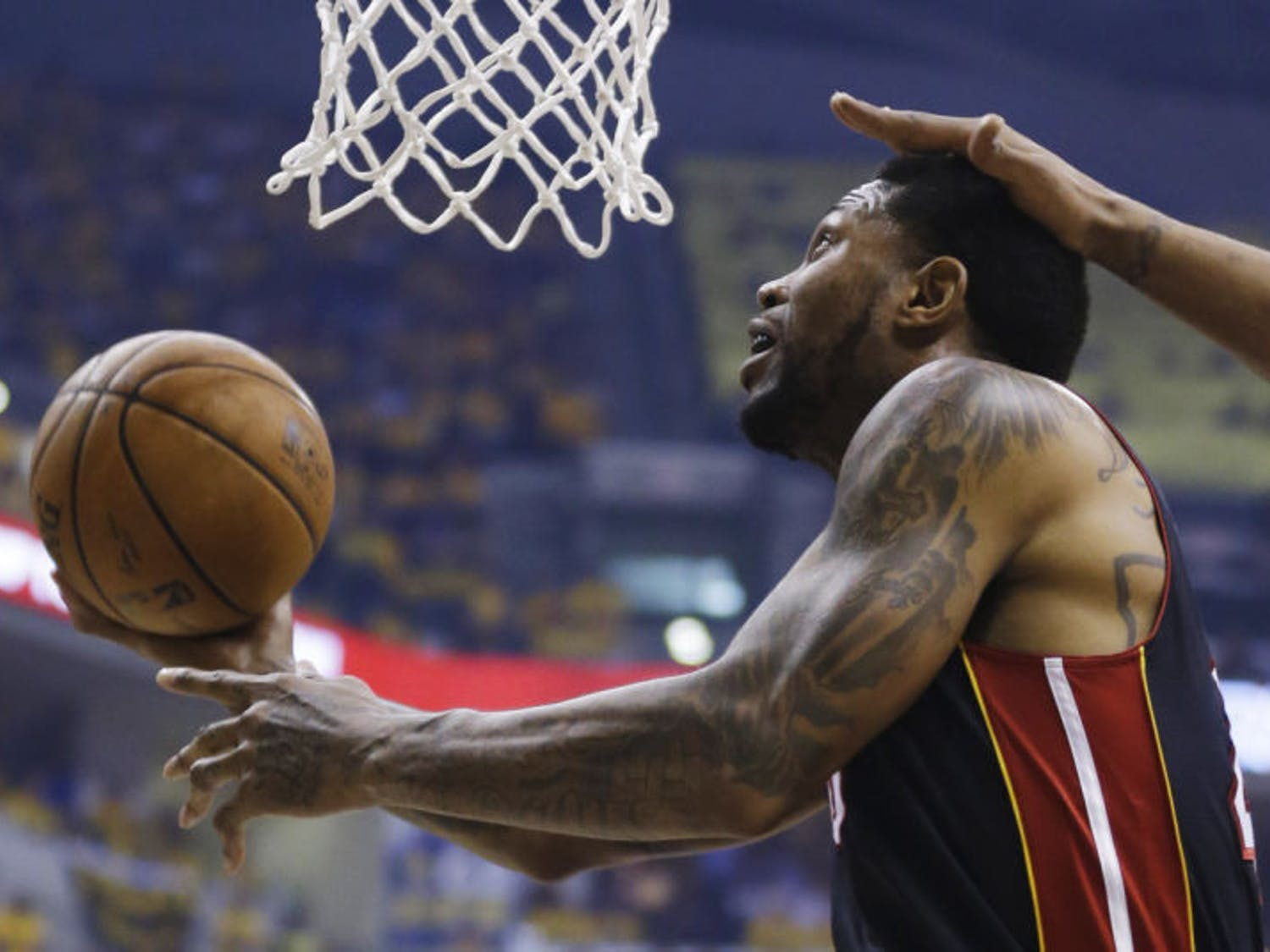 Miami Heat forward Udonis Haslem shoots against the Indiana Pacers during the first half of Game 5 of the Eastern Conference finals.