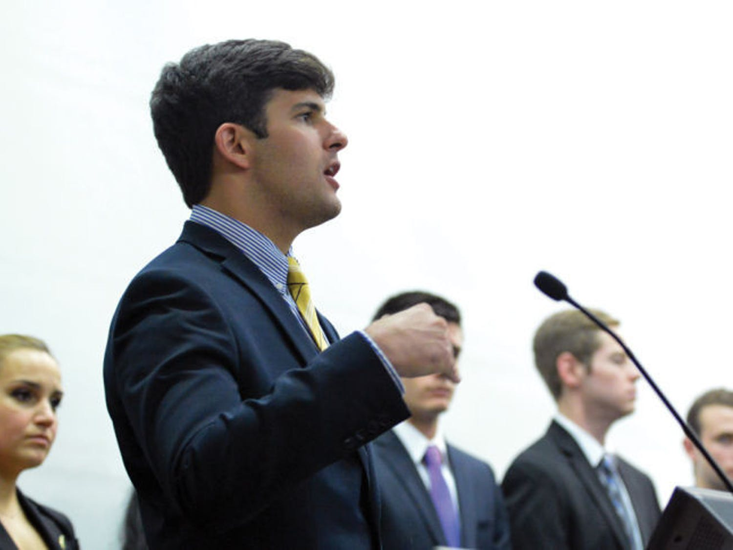 Cory Yeffet speaks about the Student Government executive branch recommendations during a Student Senate meeting on April 22, 2014.
