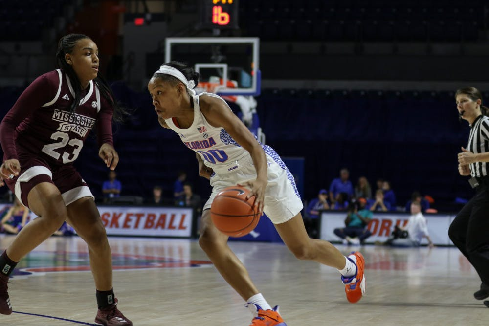 """<p dir=""""ltr"""">UF guard Delicia Washington scored seven points in Florida's 90-42 loss to Mississippi State on Jan. 24.</p>"""