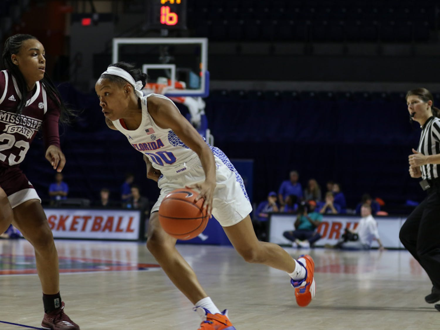 UF guard Delicia Washington scored seven points in Florida's 90-42 loss to Mississippi State on Jan. 24.