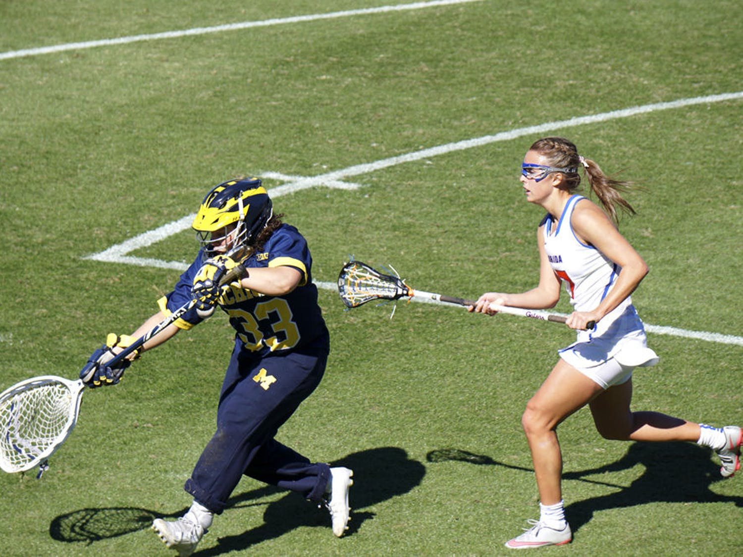 UF's Mollie Stevens attempts to make a play on the ball during Florida's 12-11 win over Michigan on Feb. 13, 2016, at Donald R. Dizney Stadium.