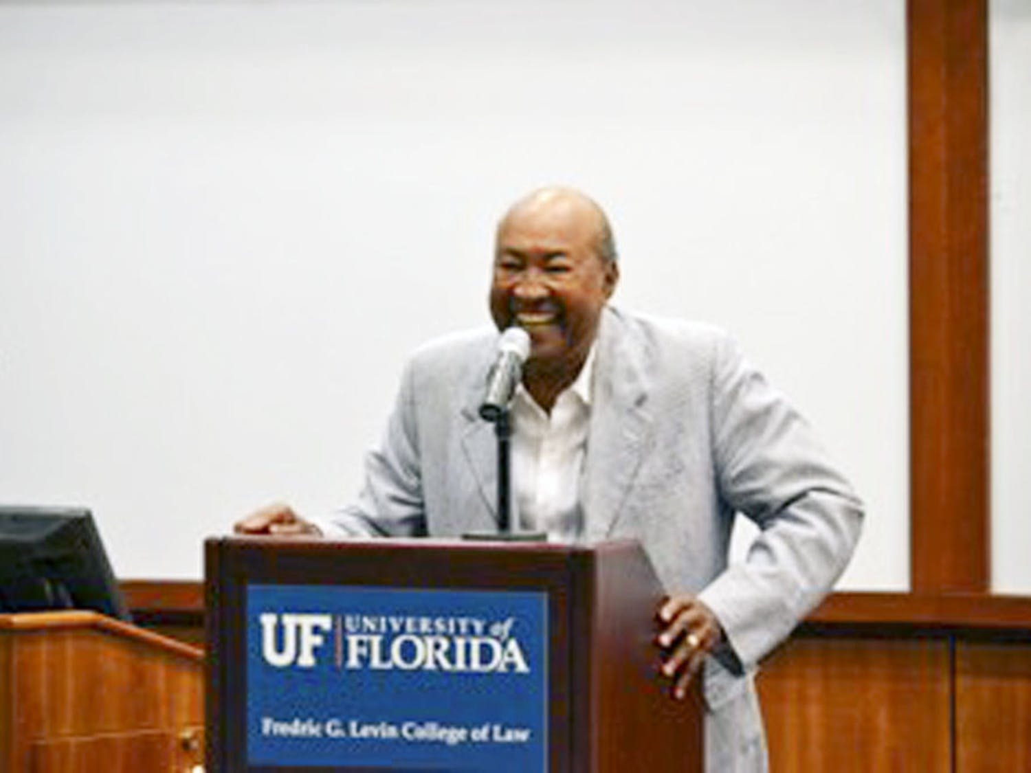 W. George Allen, the first African-American graduate of the UF College of Law, speaks to the Black Law Students Association and the Josiah T. Walls Bar Association on Friday.