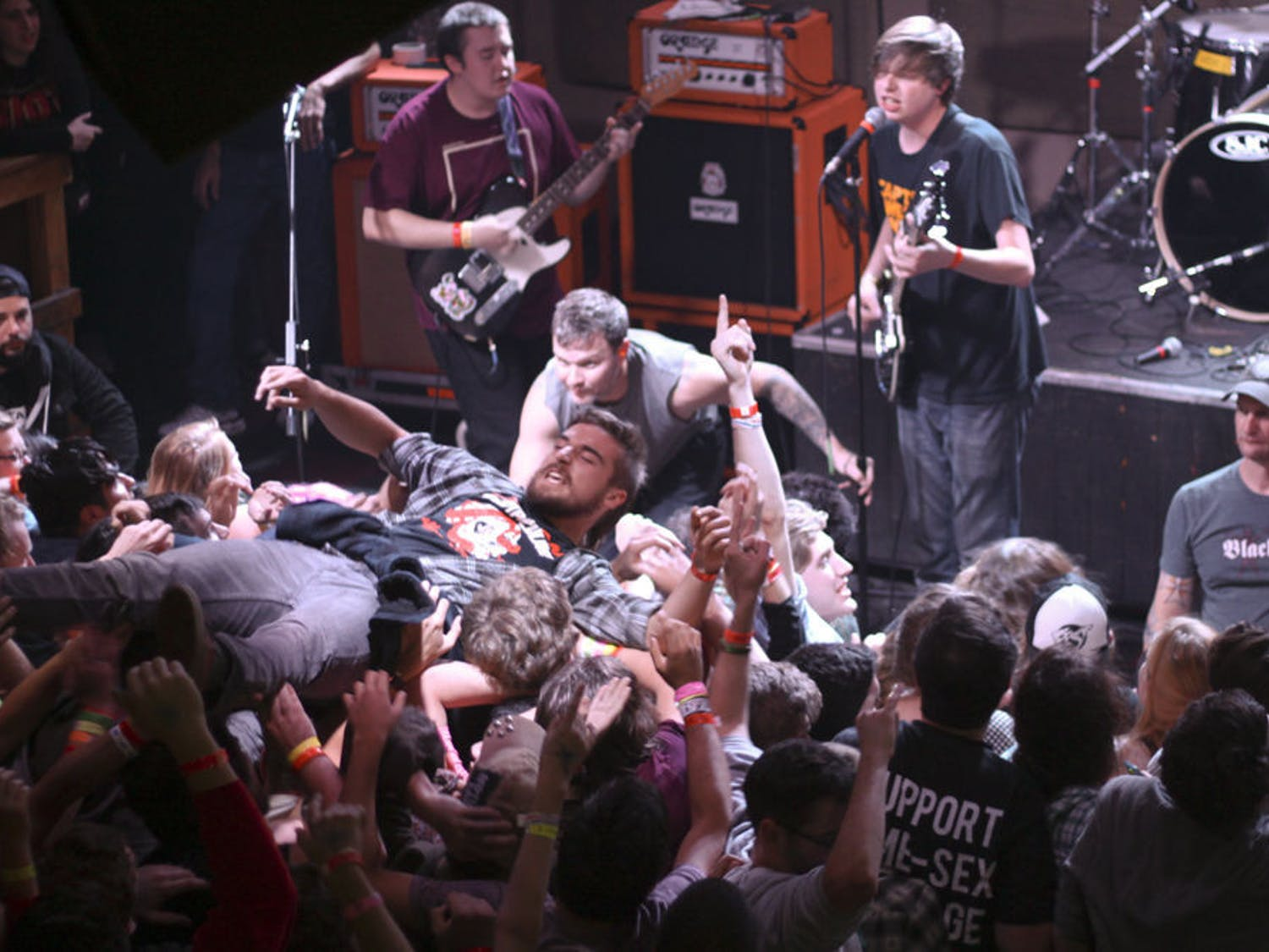 Crowd surfers rolled onto the stage during Modern Baseball's set at :08 on Sunday night.