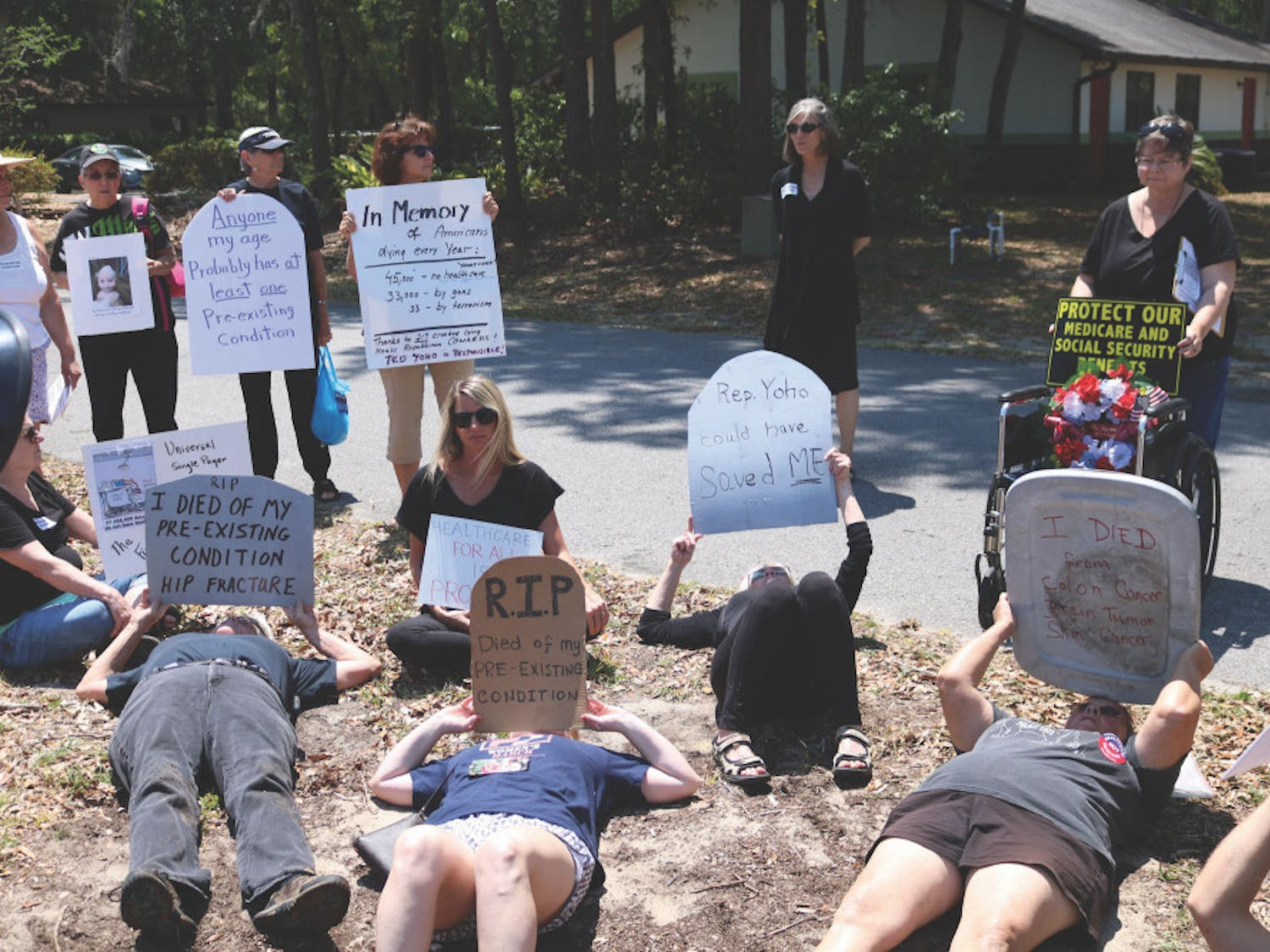 As a way of protesting the American Health Care Act, a group of about 30 local activists staged a die-in at congressman Ted Yoho's office in Gainesville Tuesday.