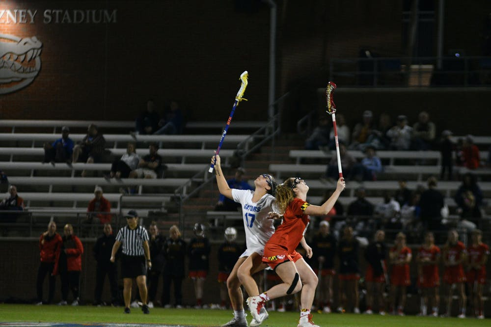 """<p dir=""""ltr""""><span>Florida midfielder Shannon Kavanagh (left) is second on the Gators with 24 draw controls this season and is the main option for the draw circle. """"The draw circle is where the game is won and lost, for the most part,"""" coach Amanda O'Leary said.</span></p> <p><span>&nbsp;</span></p>"""