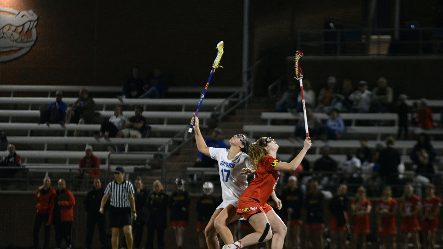 """Florida midfielder Shannon Kavanagh (left) is second on the Gators with 24 draw controls this season and is the main option for the draw circle. """"The draw circle is where the game is won and lost, for the most part,"""" coach Amanda O'Leary said."""