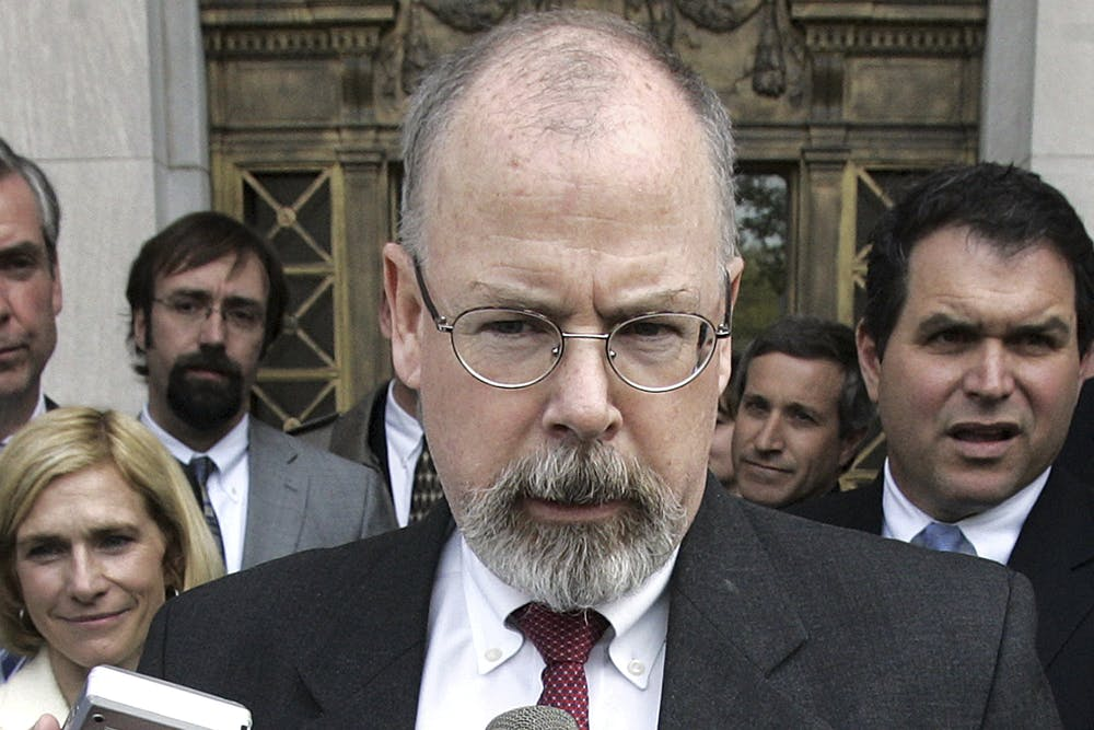 <p>FILE - In this April 25, 2006, file photo, John Durham speaks to reporters on the steps of U.S. District Court in New Haven, Conn. Durham, Connecticut's U.S. attorney, is leading the investigation into the origins of the Russia probe. He is no stranger to high-profile, highly scrutinized investigations. (AP Photo/Bob Child, File)</p>