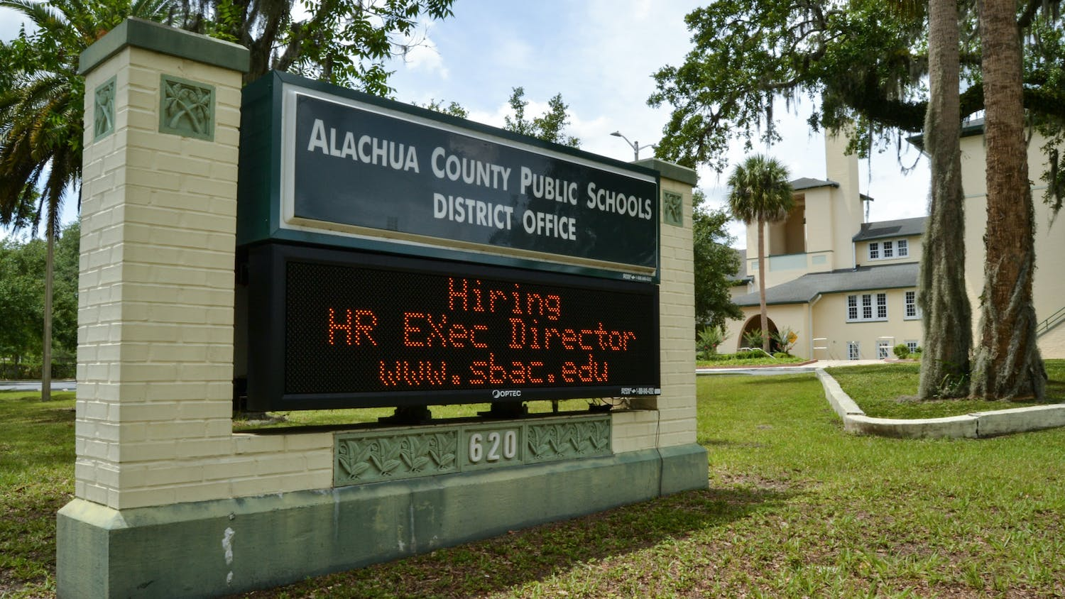 """A digital sign in front of the Alachua County Public Schools district office building reads """"Hiring HR Exec Director"""" on Sunday, June 6, 2021."""