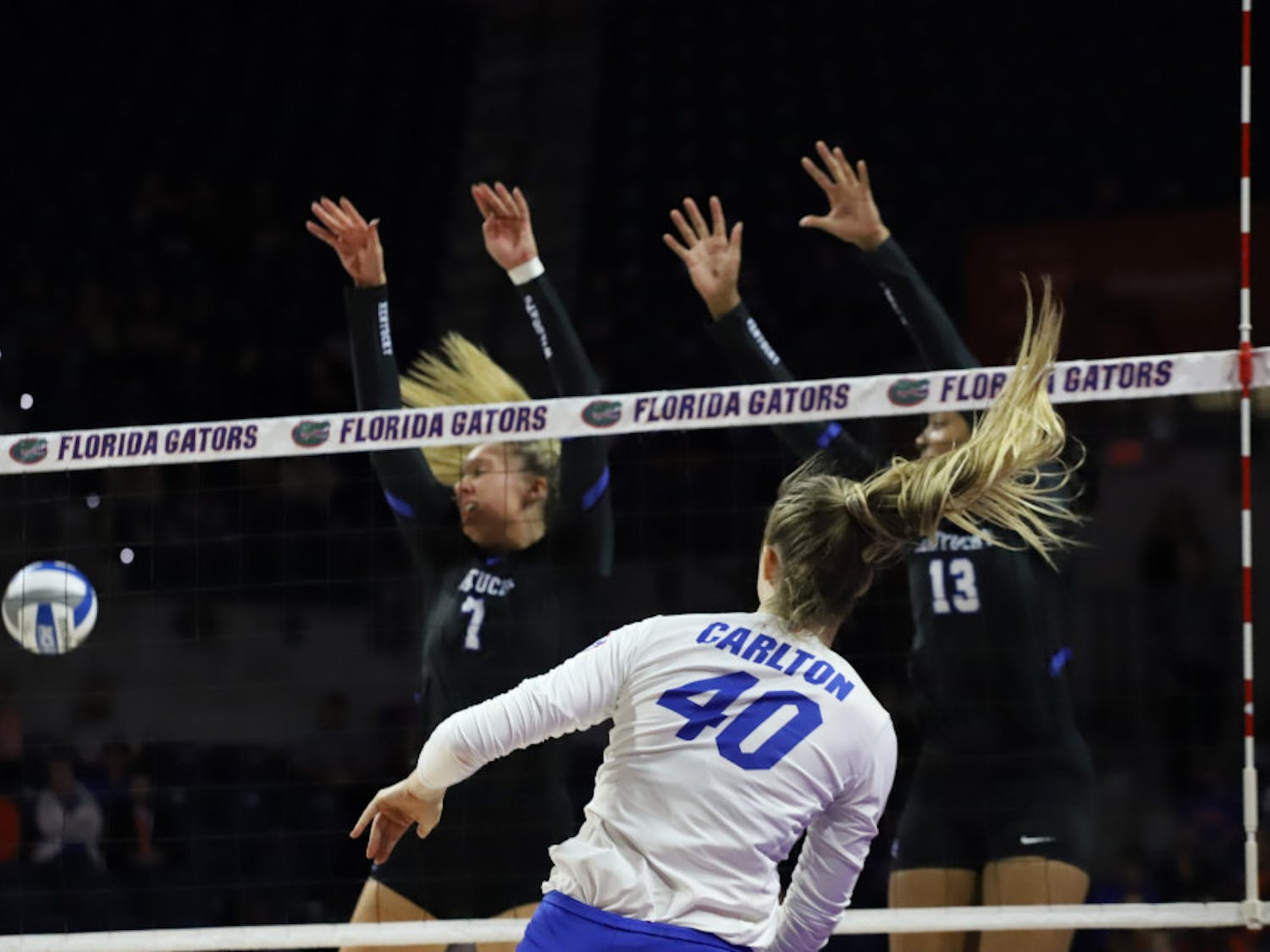 Holly Carlton at last year's home game versus Kentucky. Carlton had an impressive showing in South Carolina to help the Gators win their first match against a ranked opponent in 2020.